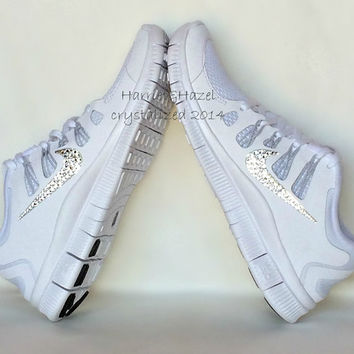8cb3e1446932 NIKE Free 5.0+ with Swarovski Crystals detail - White Metallic Silver Pure  Platinum