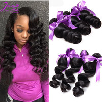 Brazilian Hair 4 Bundles 10A Brazilian Loose Wave Virgin Hair Rosa Hair Products Human Hair Weave Bundles Brazilian Loose Wave