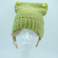 Green hat with smiley faces for daughter gift for teens preteens teenager girls