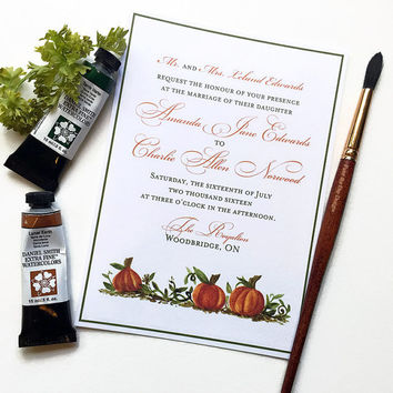 "Fall Wedding Invitation ""Pumpkin Patch"" Watercolor Wedding Invitation Card - Autumn Wedding - Halloween Wedding Watercolor Invitation"