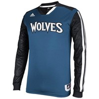 adidas Minnesota Timberwolves On-Court Shooter Long Sleeve T-Shirt - Slate Blue/Black