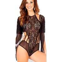 Clermont High Neck Jacquard Lace Strappy Cut-Out Teddy