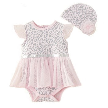 new leopard baby rompers baby clothes baby girls clothing set jumpsuit +hat sunsuit/ dress romper