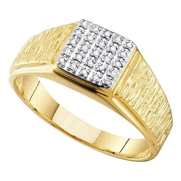 10kt Yellow Gold Men's Round Diamond Square Cluster Brushed Ring 1/8 Cttw - FREE Shipping (US/CAN)