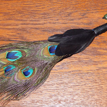 Feather Besom Broom or Smudge Wand - Peacock Feathers with Genuine Jade, Serpentine, Smokey Topaz - Magickal Tool - Wicca - OOAK - Free Ship