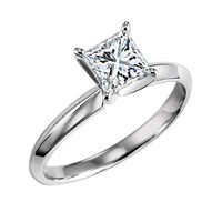 14K White Gold 1.01ct H/SI3 Princess Cut Solitaire Diamond Engagement Ring with EGL Certification
