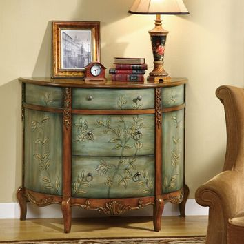 Antique teal green finish wood hall console entry table cabinet and 3 storage drawers