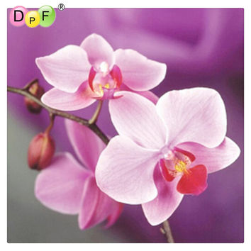 DPF Handmade needlework diy diamond painting kits diamond embroidery plant full rhinestone Pink orchid cross stitch painting