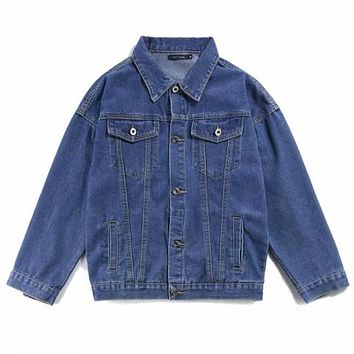 Women or Men Fashion Casual Denim Cardigan Jacket Coat Windbreaker