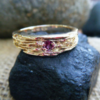 Pink purple garnet wedding band, garnet engagement ring, rhodolite garnet ring, yellow gold textured wedder, conflict free gem, ethical gold