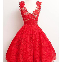 Stylish Plunging Neck Sleeveless Solid Color Lace Women's Dress
