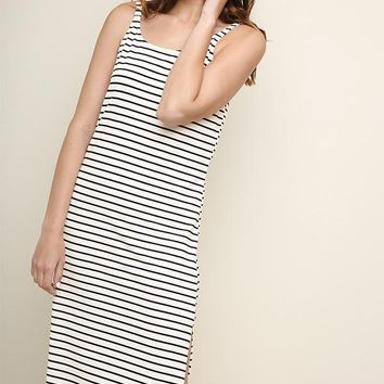 Black Striped Tank Top Midi Dress