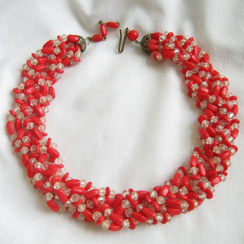 Vintage Red and Clear Lucite Beads Braid and Twist Necklace signed GERMANY