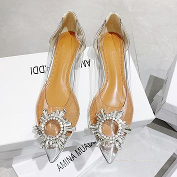 AMINA MUADDI Classic Women Chic Transparent Crystal Pointed Single Shoes