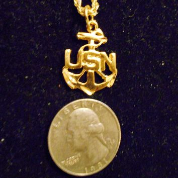 bling 14k yellow gold plated navy usn anchor sailboat sailor rope sailing sign symbol hip hop pendant charm 24 inch rope chain necklace trendy sailor seaman fashion jewelry