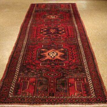 Red Runner Rug 4' x 10' Tribal Women Georgeous Art (44 x 117 in) Hamadan Rug