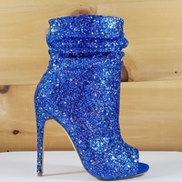 "Spotlight Blue Glitter High Heel Ankle Boots - 4.75"" Heels"