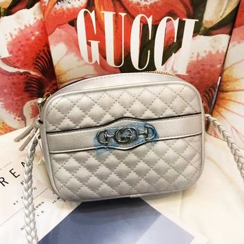GUCCI Fashion New Leather Shopping Leisure Shoulder Bag Women Silver