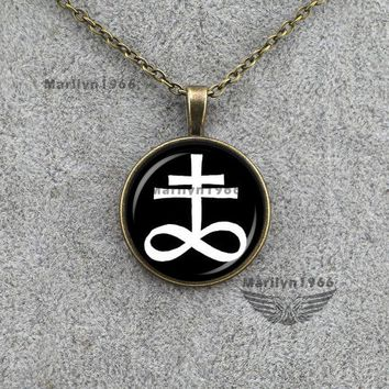 MZA1046    jewelry LEVIATHAN CROSS pendant ritual altar pendant satanic occult pendant necklace jewelry accessories