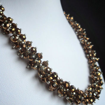Autumn Brown Crystal Necklace by Lunarpearl on Etsy