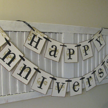 Happy Anniversary Banner Golden Anniversary Silver Anniversary Can Custom Colors or add a Number