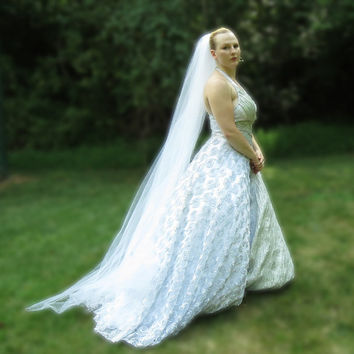 Chapel Length Veil, Floor Length Wedding Veil, Full White Tulle