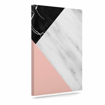 "Cafelab ""Marble Collage With Pale Pink ""  Gray Pink Canvas Art"