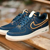 Nike Air Force 1 Blue Golden For Women Men Running Sport Casual Shoes Sneakers