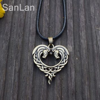 12pcs Original Celtic Necklace For Horse Lovers Heart-Shaped Horse Celtic Art Horse Necklace Heart  Equestrian SanLan Jewelry