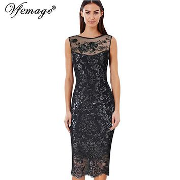Vfemage Womens Sexy Hot Sequin Glitter See Through Mesh Party Club Evening Special Occasion Bodycon Embroidery Dress 3087