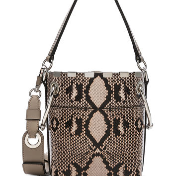Chloe Mini Roy Python Print Leather Bucket Bag in Eternal Grey | FWRD
