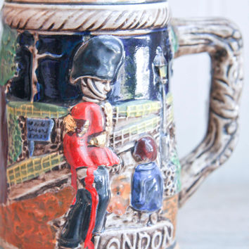 Vintage British Soldier Beer Stein - 1960's London  Barware