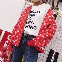 DCCK6HW Louis Vutitton LV×Supreme' Women Fashion Logo Letter Print Long Sleeve Baseball Clothes Zip Cardigan Coat