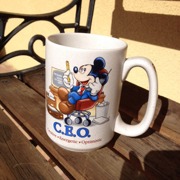 Walt Disney World Mickey Mouse CEO Mug Creative Energetic Optimistic, Mickey Mouse Disney Mug, Stoneware Disney Mug, DisneyWorld