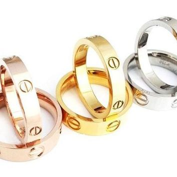 Cartier Fashion Simple Cute Couple Rings Women Ring Rhinestone Ring G