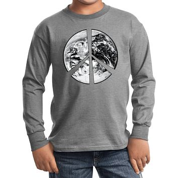 Buy Cool Shirts Kids Peace T-shirt Earth Satellite Symbol Youth Long Sleeve