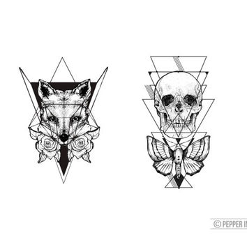 geometric temporary tattoo pack- skull and moth & fox and roses