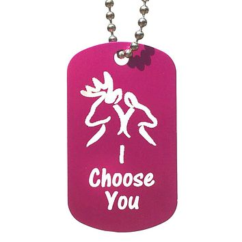 I Choose You with Buck & Doe Dog Tag Necklace
