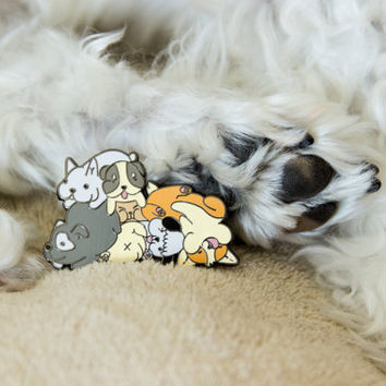 Puppy Pile Enamel Pin