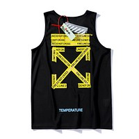 Off White Fashion New Letter Print Women Men Top T-Shirt Black