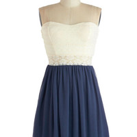 ModCloth Mid-length Strapless A-line Fine and Dandy Dress in Navy
