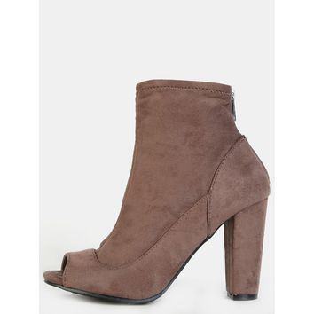 Peep Toe Chunky Ankle Booties TAUPE
