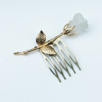 Gold and Frosted Lucite Rose Hair Comb