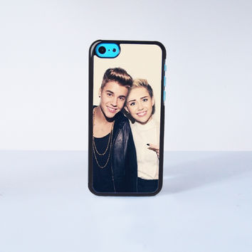 Miley Cyrus and Justin Bieber Plastic Case Cover for Apple iPhone 5C 6 Plus 6 5S 5 4 4s
