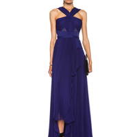 Cut Out Halter Gown in Imperial Blue