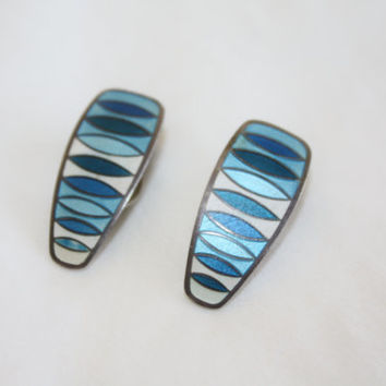 Vintage Sterling Enamel Earrings, Modernist Norway Earrings, Mid Century David Andersen  Earrings, 1960s Jewelry