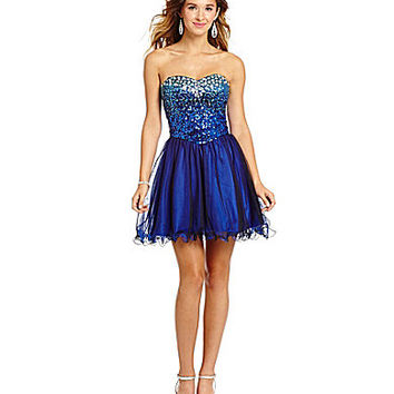 Masquerade Sweetheart Ombre Sequin Mesh Dress - Cobalt Blue