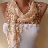 Tan Color Scarf with Trim Edge Shaped Leaves...