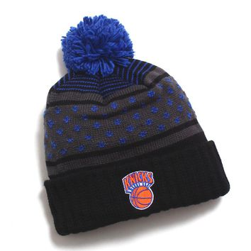 New York Knicks Highlands 2.0 Pom Beanie Black / Blue