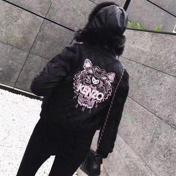 DCCKH3L Kenzo' Women Fashion Letter Tiger Head Embroidery Long Sleeve Rhombus Grid Cotton-padded Clothes Short Jacket Coat
